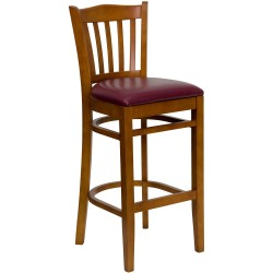 Cherry Finished Vertical Slat Back Wooden Restaurant Bar Stool - Burgundy Vinyl Seat