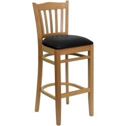 Natural Wood Finished Vertical Slat Back Wooden Restaurant Bar Stool - Black Vinyl Seat