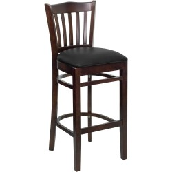 Walnut Finished Vertical Slat Back Wooden Restaurant Bar Stool - Black Vinyl Seat