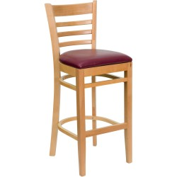 Natural Wood Finished Ladder Back Wooden Restaurant Bar Stool - Burgundy Vinyl Seat