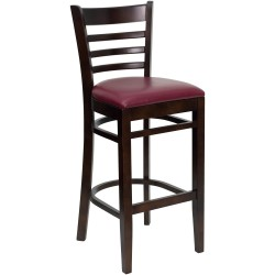 Walnut Finished Ladder Back Wooden Restaurant Bar Stool - Burgundy Vinyl Seat