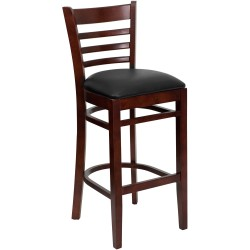 Mahogany Finished Ladder Back Wooden Restaurant Bar Stool - Black Vinyl Seat