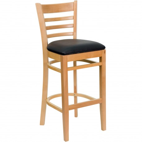 Natural Wood Finished Ladder Back Wooden Restaurant Bar Stool - Black Vinyl Seat