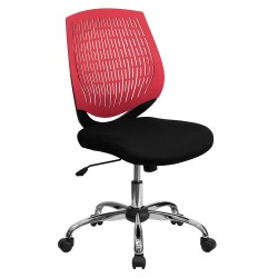 Mid-Back Red Designer Back Task Chair with Chrome Base