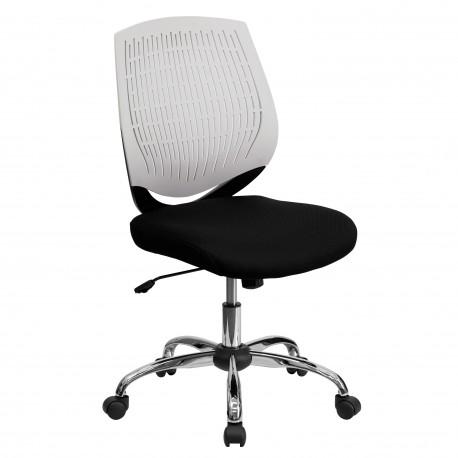 Mid-Back White Designer Back Task Chair with Chrome Base