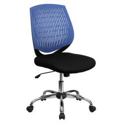 Mid-Back Blue Designer Back Task Chair with Chrome Base