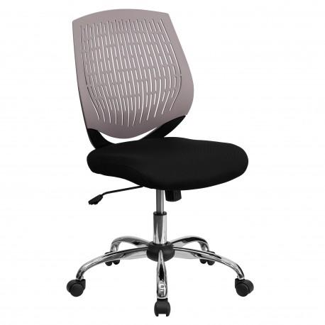 Mid-Back Gray Designer Back Task Chair with Chrome Base