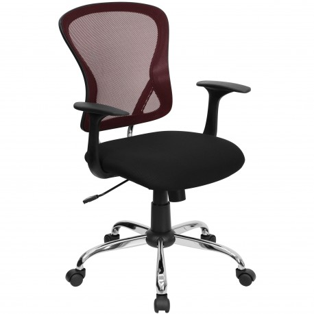 Mid-Back Burgundy Mesh Office Chair with Black Fabric Seat and Chrome Finished Base