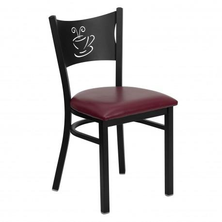 Black Coffee Back Metal Restaurant Chair - Burgundy Vinyl Seat