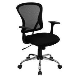 Mid-Back Black Mesh Office Chair with Chrome Finished Base
