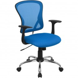 Mid-Back Blue Mesh Office Chair with Chrome Finished Base