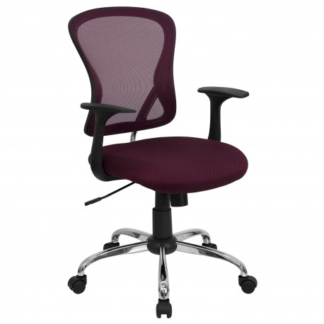Mid-Back Burgundy Mesh Office Chair with Chrome Finished Base