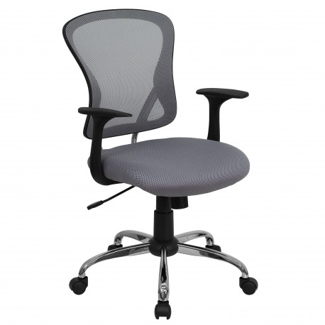 Mid-Back Gray Mesh Office Chair with Chrome Finished Base
