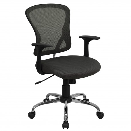 Mid-Back Dark Gray Mesh Office Chair with Chrome Finished Base