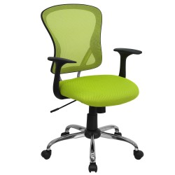 Mid-Back Green Mesh Office Chair with Chrome Finished Base