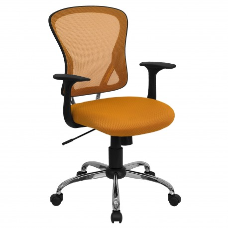 Mid-Back Orange Mesh Office Chair with Chrome Finished Base