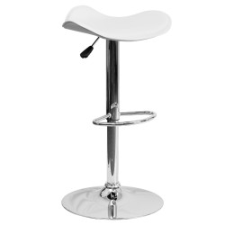 Contemporary White Vinyl Adjustable Height Bar Stool with Chrome Base