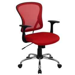 Mid-Back Red Mesh Office Chair with Chrome Finished Base