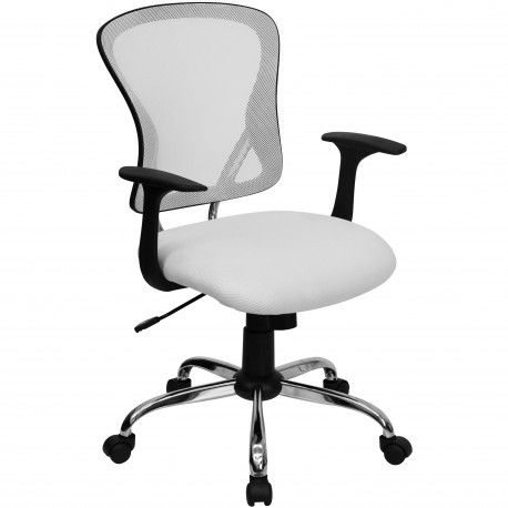 Mid-Back White Mesh Office Chair with Chrome Finished Base