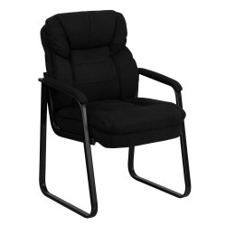 Black Microfiber Executive Side Chair with Sled Base