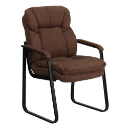 Brown Microfiber Executive Side Chair with Sled Base