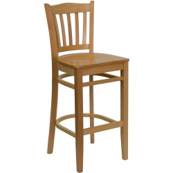 Natural Wood Finished Vertical Slat Back Wooden Restaurant Bar Stool