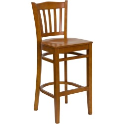 Cherry Finished Vertical Slat Back Wooden Restaurant Bar Stool