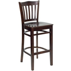 Walnut Finished Vertical Slat Back Wooden Restaurant Bar Stool