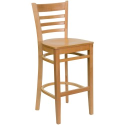 Natural Wood Finished Ladder Back Wooden Restaurant Bar Stool