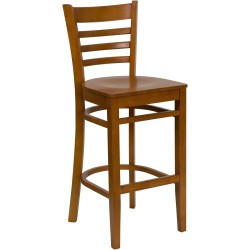 Cherry Finished Ladder Back Wooden Restaurant Bar Stool