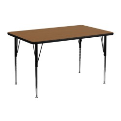 24''W x 48''L Rectangular Activity Table with Oak Thermal Fused Laminate Top and Standard Height Adjustable Legs