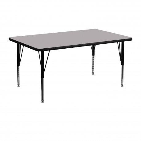 24''W x 48''L Rectangular Activity Table with Grey Thermal Fused Laminate Top and Height Adjustable Pre-School Legs