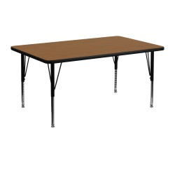 24''W x 48''L Rectangular Activity Table with Oak Thermal Fused Laminate Top and Height Adjustable Pre-School Legs