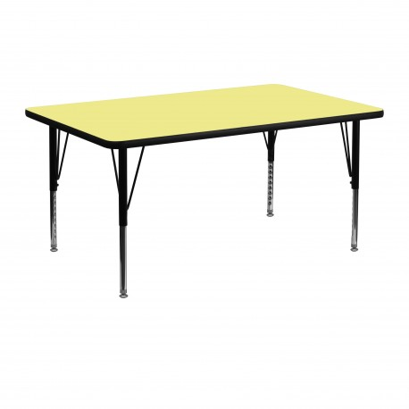 24''W x 48''L Rectangular Activity Table with Yellow Thermal Fused Laminate Top and Height Adjustable Pre-School Legs