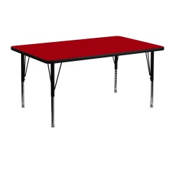 24''W x 48''L Rectangular Activity Table with Red Thermal Fused Laminate Top and Height Adjustable Pre-School Legs