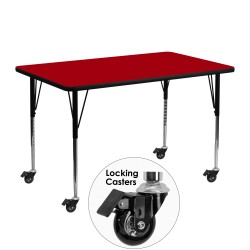 Mobile 24''W x 48''L Rectangular Activity Table with Red Thermal Fused Laminate Top and Standard Height Adjustable Legs