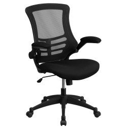 Mid-Back Black Mesh Chair with Nylon Base