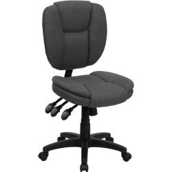 Mid-Back Gray Fabric Multi-Functional Ergonomic Task Chair