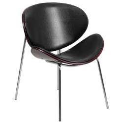 Mahogany Bentwood Leisure Reception Chair with Black Leather Upholstery