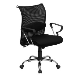 Mid-Back Manager's Chair with Black Mesh Back and Padded Mesh Seat