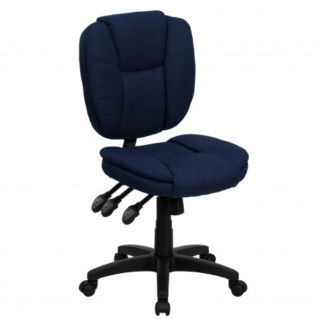 Mid-Back Navy Blue Fabric Multi-Functional Ergonomic Task Chair