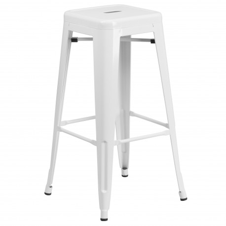 30'' Backless White Metal Bar Stool