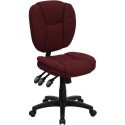 Mid-Back Burgundy Fabric Multi-Functional Ergonomic Task Chair