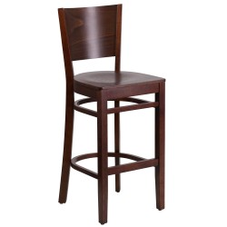 Chimera Collection Solid Back Walnut Wooden Restaurant Barstool
