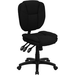 Mid-Back Black Fabric Multi-Functional Ergonomic Task Chair