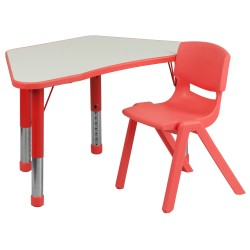 Red Trapezoid Plastic Activity Table Configuration with 1 School Stack Chair
