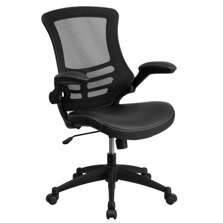 Mid-Back Black Mesh Chair with Leather Seat and Nylon Base