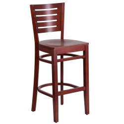 Fervent Collection Slat Back Mahogany Wooden Restaurant Barstool