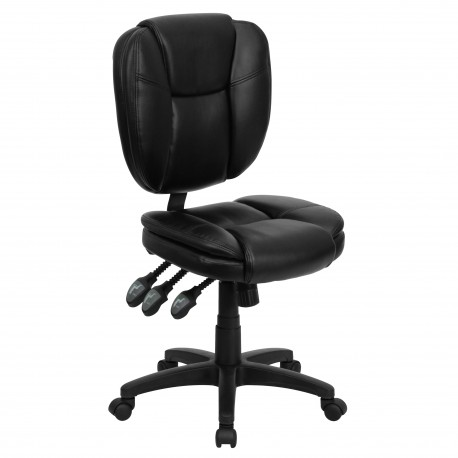 Mid-Back Black Leather Multi-Functional Ergonomic Task Chair