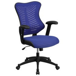 High Back Blue Mesh Chair with Nylon Base